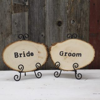 Bride & Groom Wood Round Table Sign Set