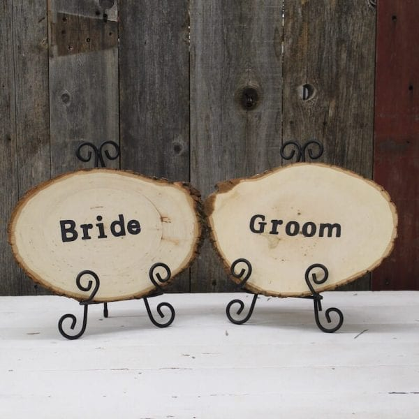 Sign - Bride & Groom Wood Round