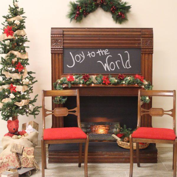 Brown Chalkboard Fireplace