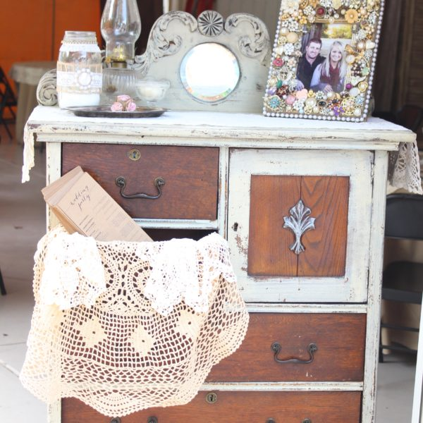 Ivory & Brown Chest of Drawers