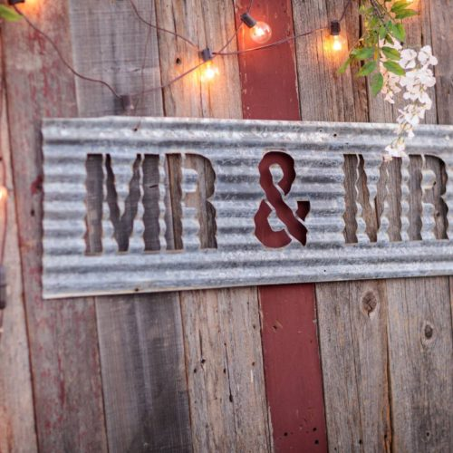 Mr & Mrs Galvanized Tin Sign