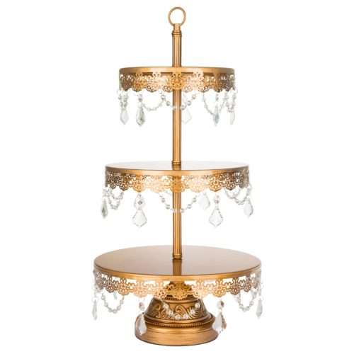 Sadie 3 Tiered Gold Cake Stand